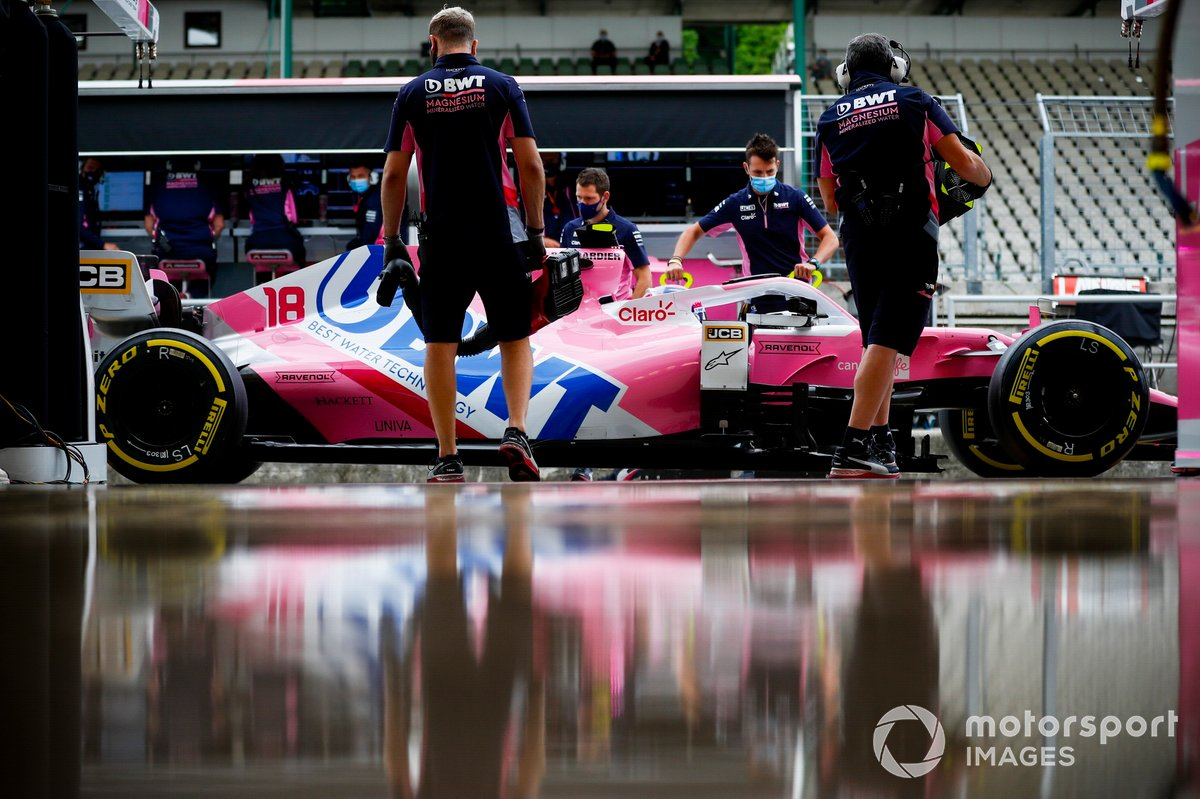 Lance Stroll, Racing Point RP20, en pits