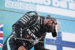 Lewis Hamilton, Mercedes-AMG Petronas F1, 1st position, celebrates on the podium