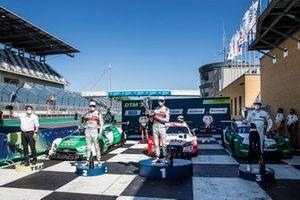 Podium: Race winner René Rast, Audi Sport Team Rosberg, second place Nico Müller, Audi Sport Team Abt Sportsline, third place Marco Wittmann, BMW Team RMG