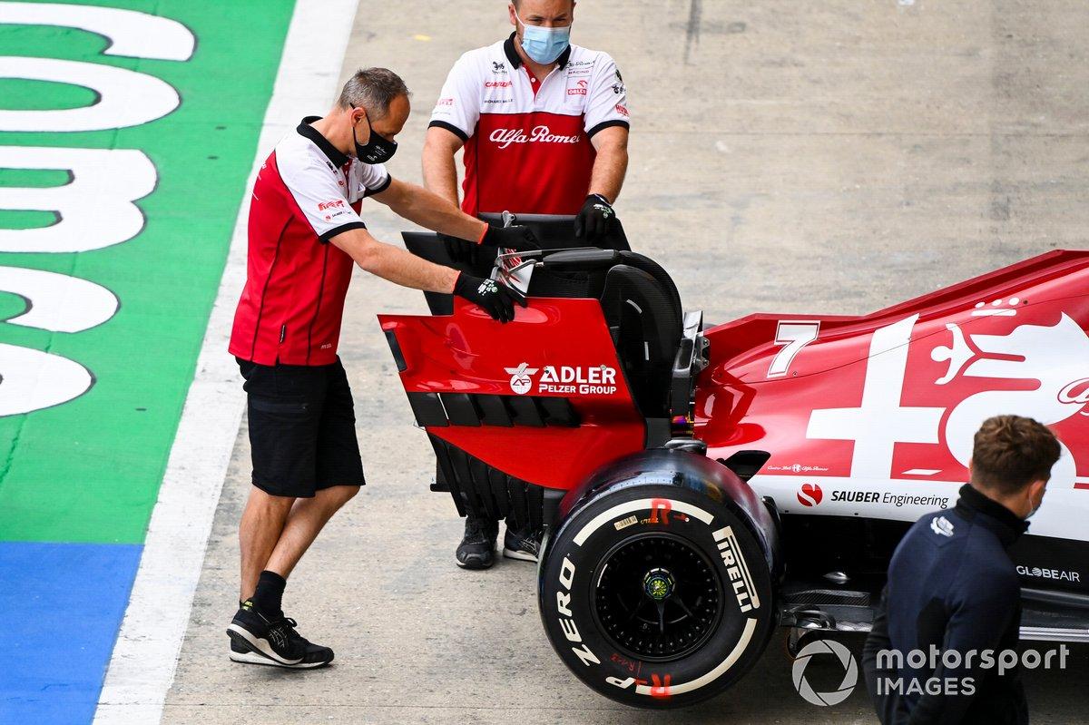El ala trasera del monoplaza de Kimi Raikkonen, Alfa Romeo Racing C39