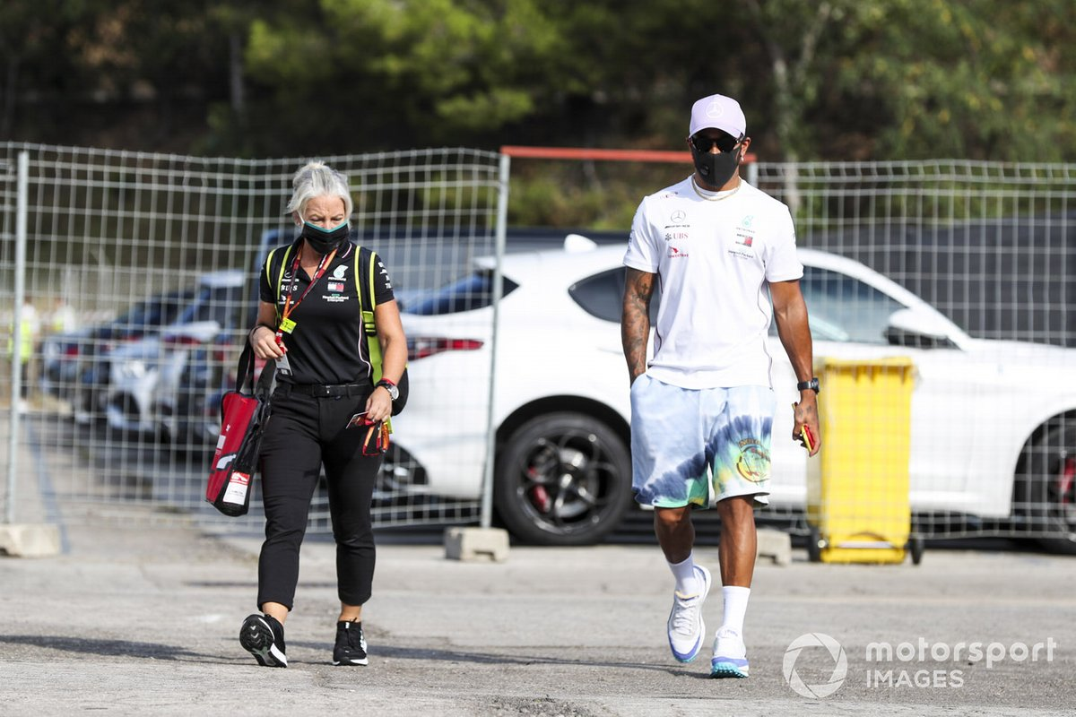 Angela Cullen, fisio de Lewis Hamilton y Lewis Hamilton, Mercedes-AMG Petronas F1