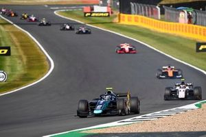 Dan Ticktum, Dams, leads Christian Lundgaard, ART Grand Prix, Jack Aitken, Campos Racing, and Mick Schumacher, Prema Racing