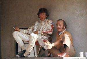 Jochen Rindt and Colin Chapman in the pits