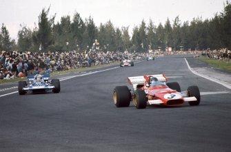 Jacky Ickx, Ferrari 312B, leads Jackie Stewart, Tyrrell 001 Ford