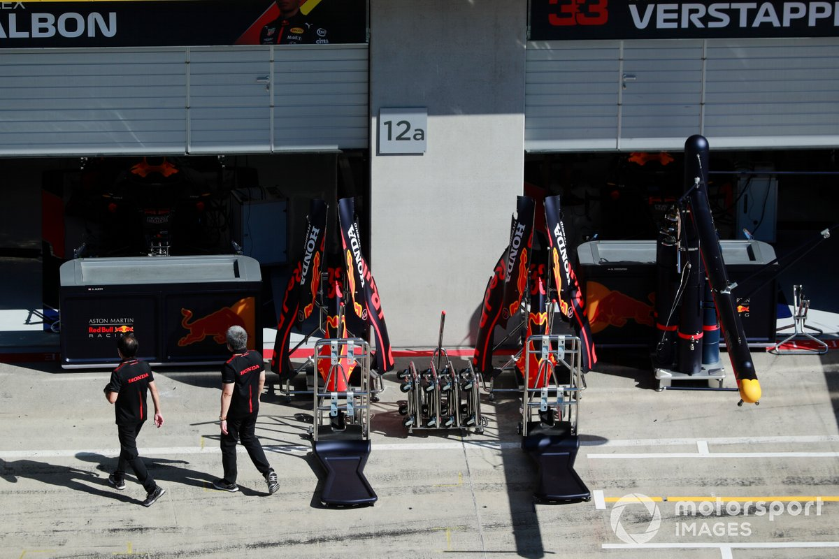 The Red Bull Honda garage