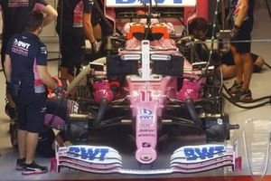 Sergio Perez, Racing Point RP20, in the garage