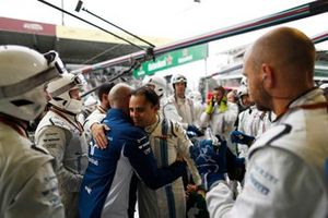 Felipe Massa, Williams Racing, is greeted by his team