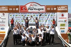 Sebastien Ogier, Julien Ingrassia celebrate their first WRC victory with the Citroen Team on the podium