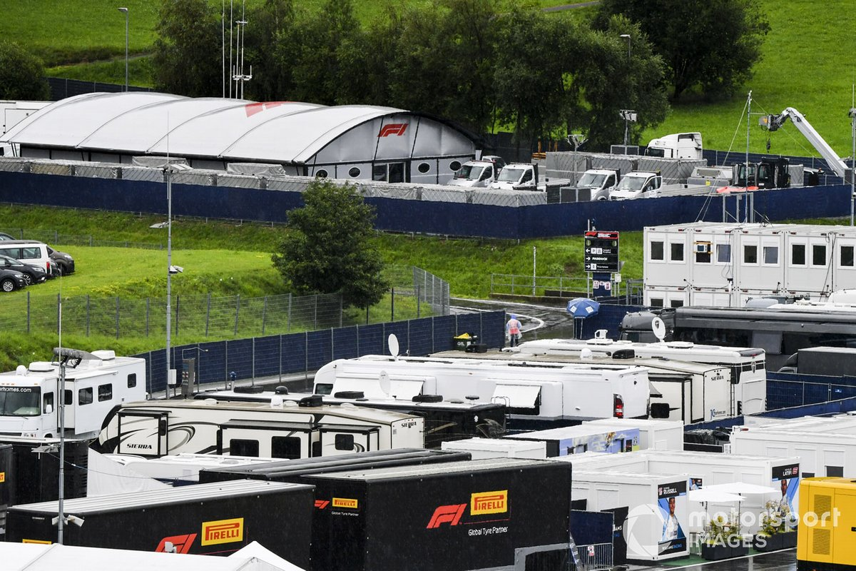 Trucks and motorhomes in the wet paddock