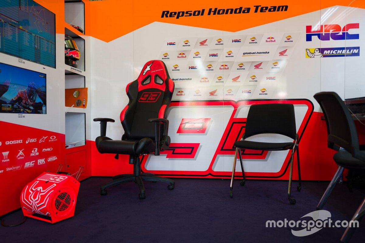Asiento de Marc Márquez, del equipo Repsol Honda