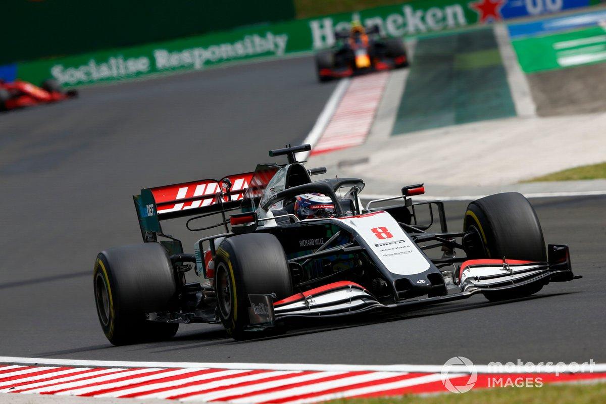 Romain Grosjean, Haas VF-20, Alex Albon, Red Bull Racing RB16