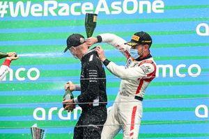 Race winner Luca Ghiotto, Hitech Grand Prix celebrates on the podium