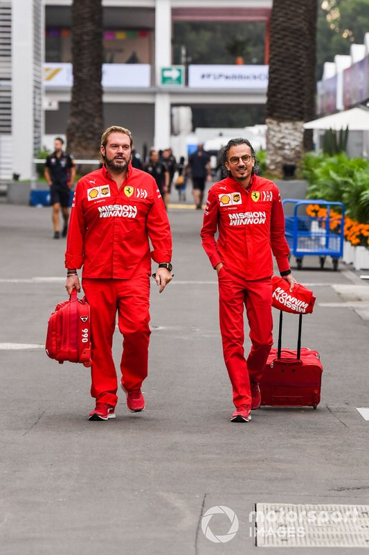 Ferrari team arrive at the track