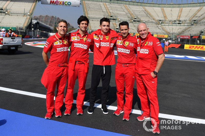 Charles Leclerc, Ferrari poses for a photograph with his team