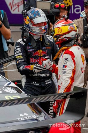 1. Shane van Gisbergen, Triple Eight Race Engineering Holden, 2. Scott McLaughlin, DJR Team Penske Ford
