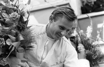 Podium: race winner Bruce McLaren