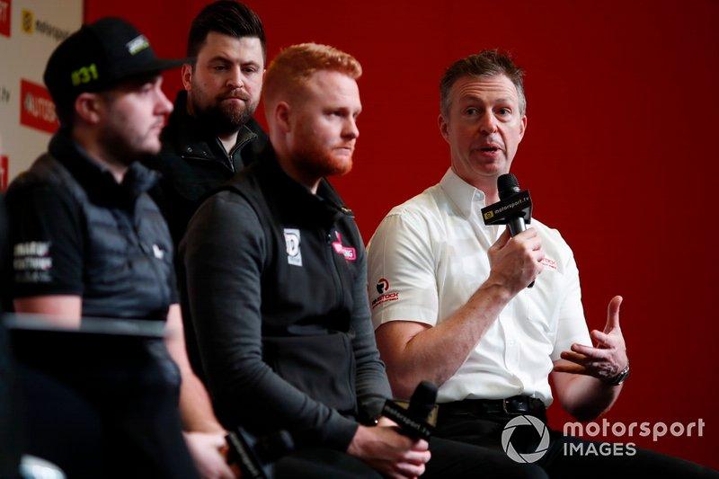 BTCC drivers Jack Goff, Daniel Rowbottom, Josh Cook, and Matt Neal are interviewed on stage