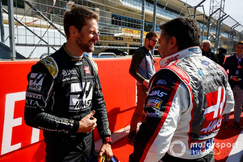 Romain Grosjean, Haas F1 Team Team, and NASCAR legend Tony Stewart