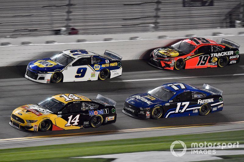 Clint Bowyer, Stewart-Haas Racing, Ford Mustang Rush / Mobil 1, Chase Elliott, Hendrick Motorsports, Chevrolet Camaro NAPA Auto Parts, Chris Buescher, Roush Fenway Racing, Ford Mustang Fastenal, and Martin Truex Jr., Joe Gibbs Racing, Toyota Camry Bass Pro Shops