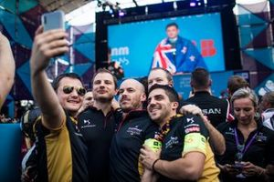 The DS Techeetah team celebrate at the podium
