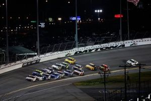 Denny Hamlin, Joe Gibbs Racing, Toyota Camry FedEx Express, Ryan Newman, Roush Fenway Racing, Ford Mustang Koch Industries, Ryan Blaney, Team Penske, Ford Mustang Menards / Peak, last corner of second to last lap