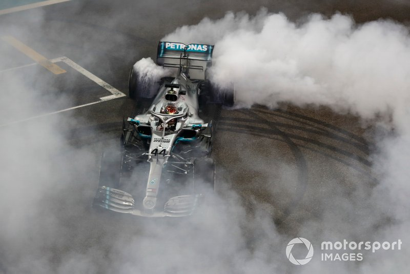 Lewis Hamilton, Mercedes AMG F1 W10, 1st position, performs a donut