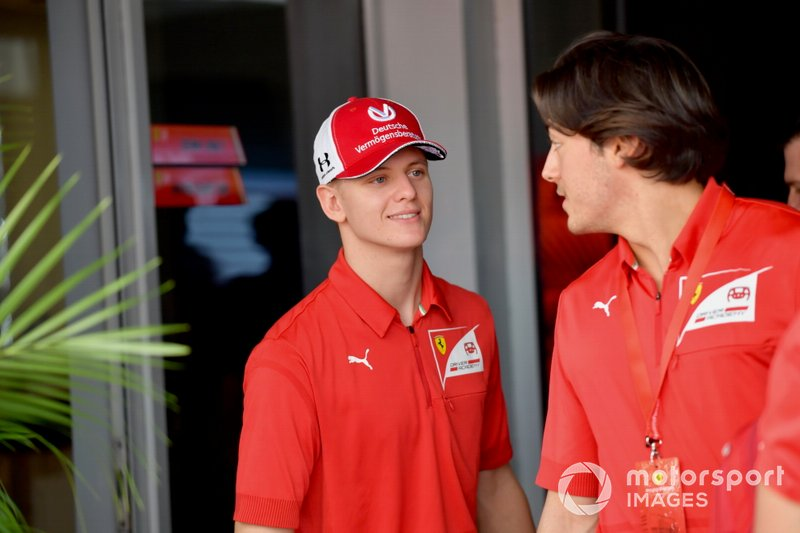 Mick Schumacher and fellow Ferrari Academy driver Giuliano Alesi