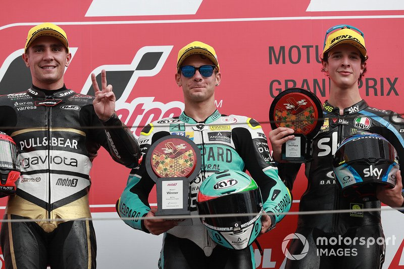 Podio: il vincitore della gara Lorenzo Dalla Porta, Leopard Racing, il secondo classificato Albert Arenas, Ángel Nieto Team, il terzo classificato Celestino Vietti, Sky Racing Team VR46
