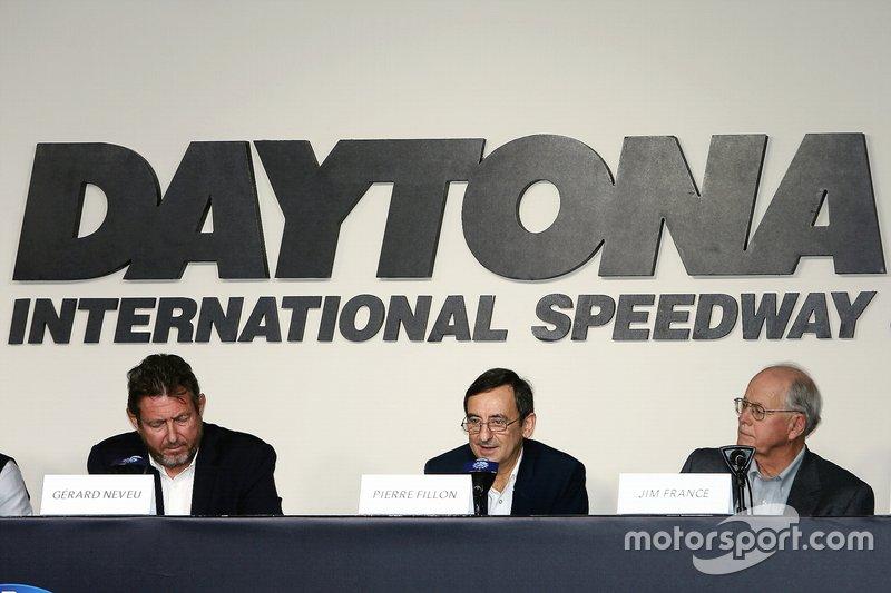 Pierre Fillon, ACO President, Jim France, IMSA Chairman, Gerard Neveu, FIA WEC CEO