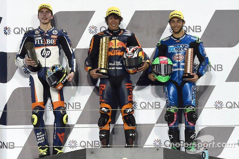Podio: ganador de la carrera Tetsuta Nagashima, Red Bull KTM Ajo, segundo lugar Lorenzo Baldassarri, Pons HP40, tercer lugar Enea Bastianini, Italtrans Racing Team