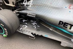 Damage of the floor at the car of Lewis Hamilton, Mercedes AMG F1 W10