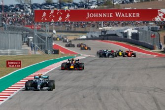 Valtteri Bottas, Mercedes AMG F1, leads Max Verstappen, Red Bull Racing RB15, Lewis Hamilton, Mercedes AMG F1 W10