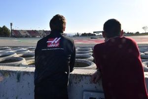 Romain Grosjean, Haas F1 watches the action on track
