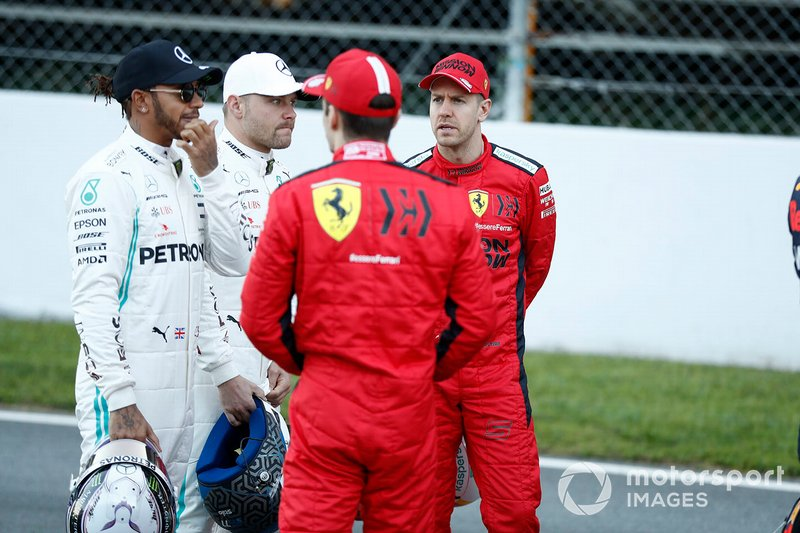 Lewis Hamilton, Mercedes-AMG Petronas F1, Valtteri Bottas, Mercedes-AMG Petronas F1, Sebastien Vettel, Ferrari y Charles Leclerc, Ferrari
