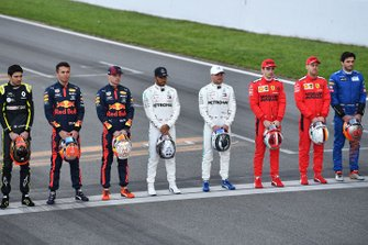 Esteban Ocon, Renault F1, Alexander Albon, Red Bull Racing, Max Verstappen, Red Bull Racing, Lewis Hamilton, Mercedes-AMG Petronas F1, Valtteri Bottas, Mercedes-AMG Petronas F1, Charles Leclerc, Ferrari, Sebastian Vettel, Ferrari and Carlos Sainz, McLaren line up on the track