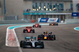 Lewis Hamilton, Mercedes AMG F1 W10, leads Max Verstappen, Red Bull Racing RB15 and Charles Leclerc, Ferrari SF90