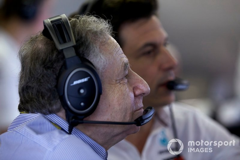 Jean Todt, President, FIA, e Toto Wolff, Executive Director (Business), Mercedes AMG
