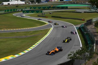 Lando Norris, McLaren MCL34, leads Daniel Ricciardo, Renault F1 Team R.S.19, Lance Stroll, Racing Point RP19, and Sergio Perez, Racing Point RP19