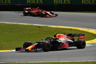 Alexander Albon, Red Bull RB15, leads Charles Leclerc, Ferrari SF90
