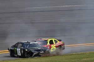 Riley Herbst, Joe Gibbs Racing, Toyota Supra Monster, Chris Cockrum, ACG Motorsports, Chevrolet Camaro Advanced Communications Group, crash in turn 4
