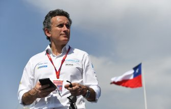 Alejandro Agag, Chairman of Formula E on the podium