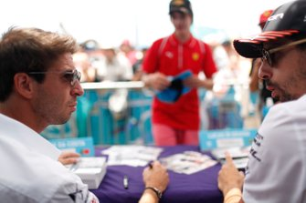 Antonio Felix da Costa, DS Techeetah, Lucas Di Grassi, Audi Sport ABT Schaeffler talk during an autograph session