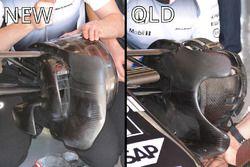 Comparación de los conductos del freno delantero del McLaren MP4-31