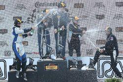 Podium: race winners #15 Multimatic Motorsports Mustang Boss 302R: Billy Johnson, Scott Maxwell, sec