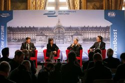 Patrick Kanner, French Sports Minister, Anne Hidalgo, mayor of Paris, Jean Todt, FIA president, Alejandro Agag, Formula E CEO