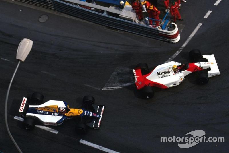 Ayrton Senna, McLaren-Honda; Nigel Mansell, Williams-Renault