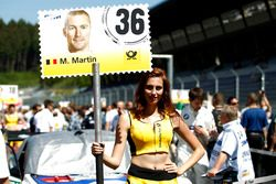 Grid girl of Maxime Martin, BMW Team RBM, BMW M4 DTM