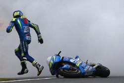 Aleix Espargaro, Team Suzuki MotoGP bike on fire