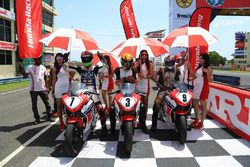 Honda CBR 150 Novice race: winner Anish D Shetty, second place Soorya P M, third place Mahesh Murali M