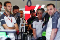 Kurt Busch, NASCAR Driver in the Haas F1 Team pit garage with Gene Haas, Haas Automotion President